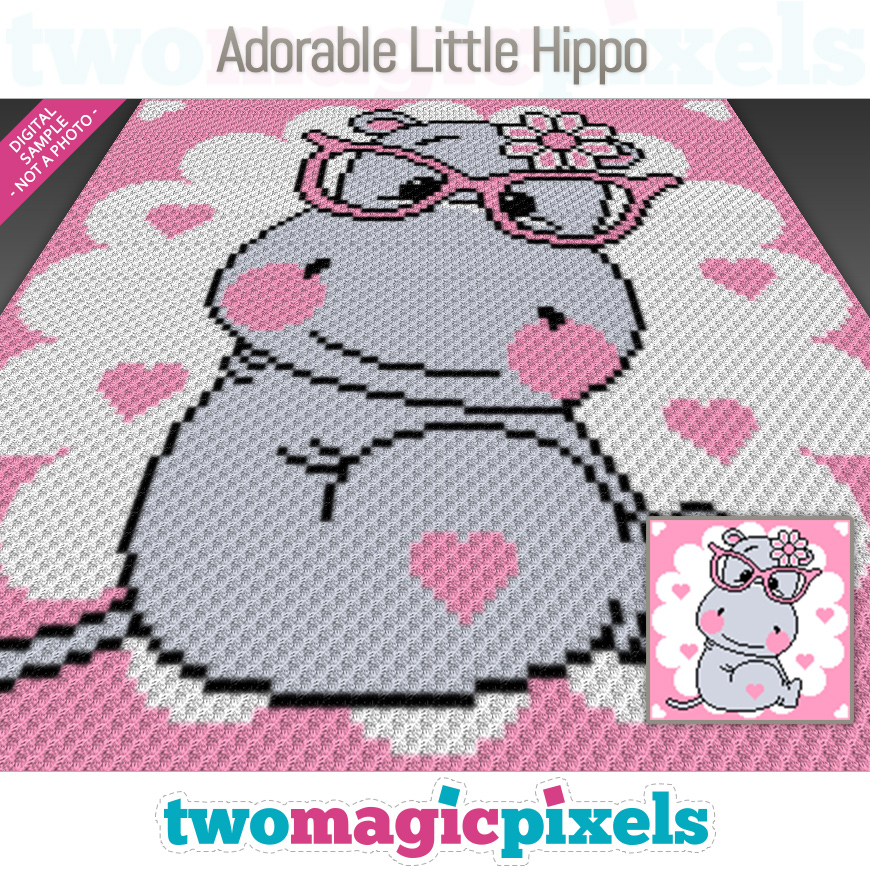 Adorable Little Hippo by Two Magic Pixels