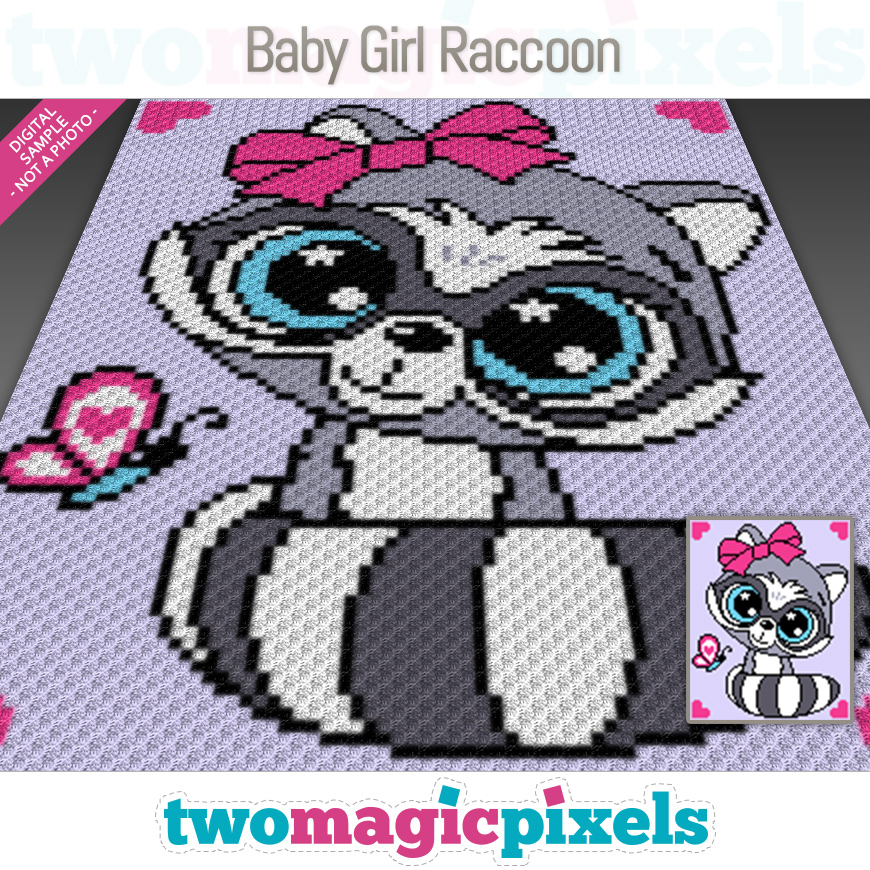 Baby Girl Raccoon by Two Magic Pixels