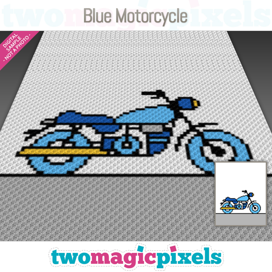 Blue Motorcycle by Two Magic Pixels