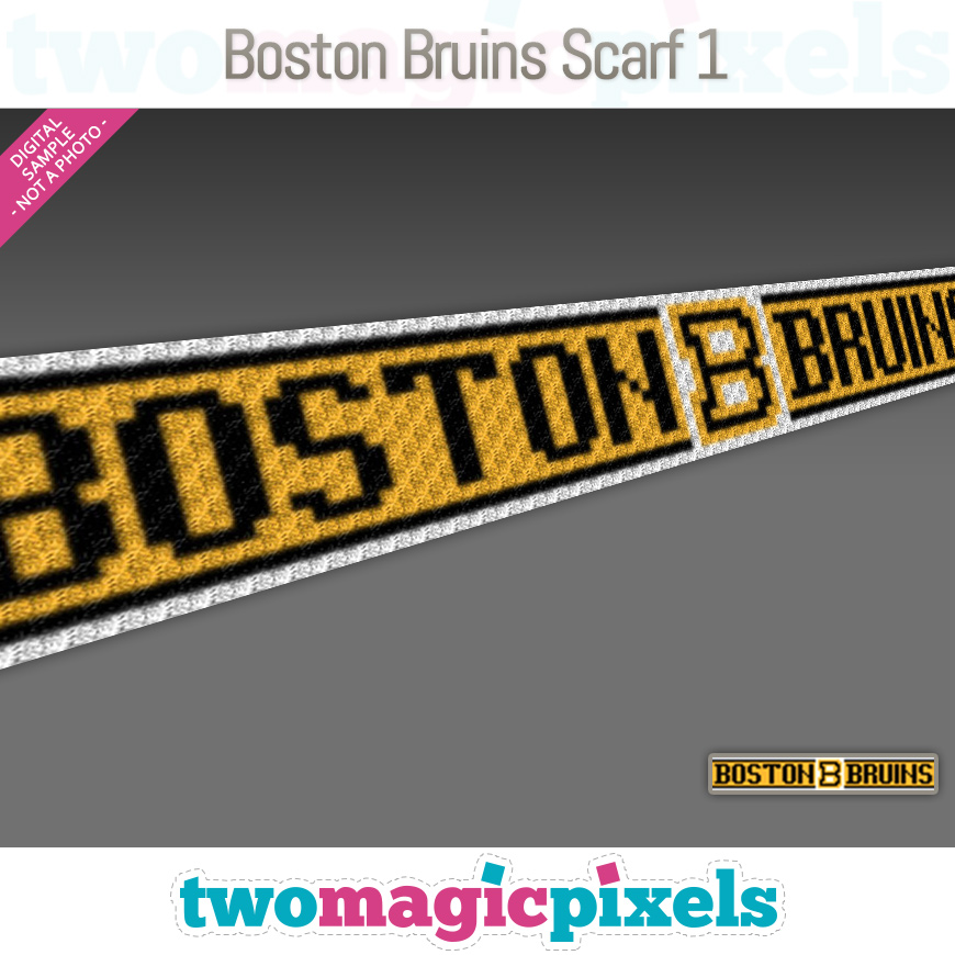 Boston Bruins Scarf 1 by Two Magic Pixels