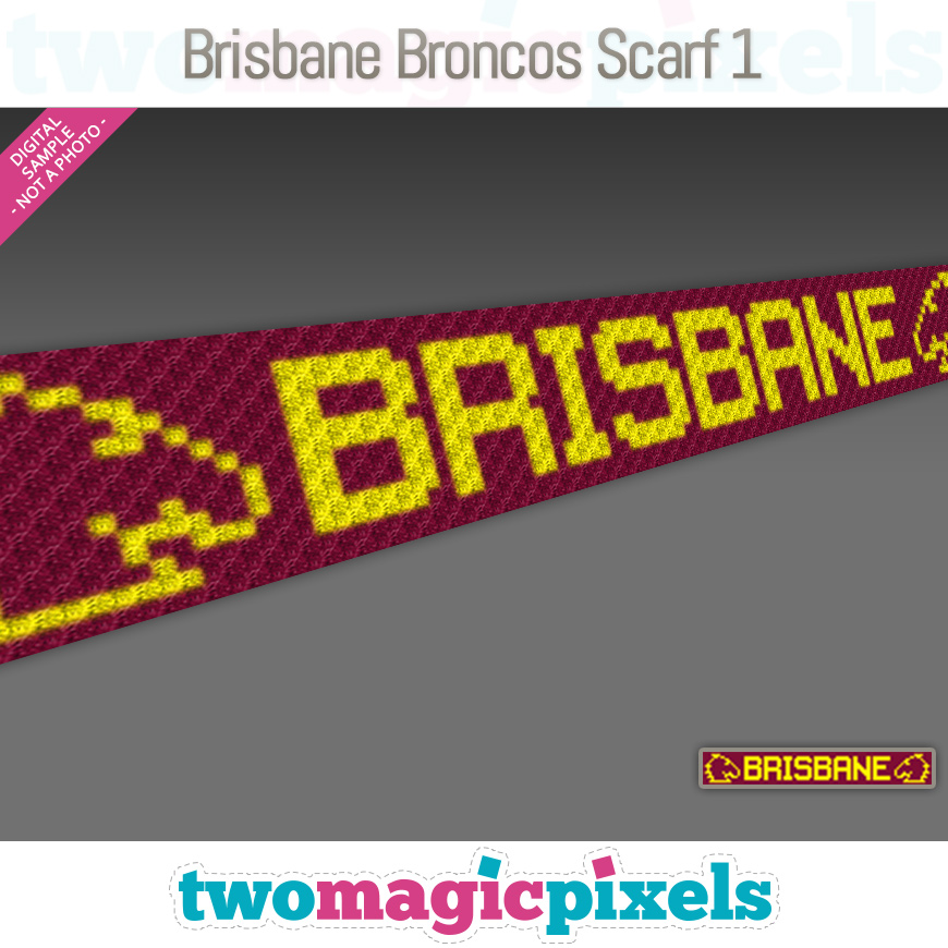 Brisbane Broncos Scarf 1 by Two Magic Pixels