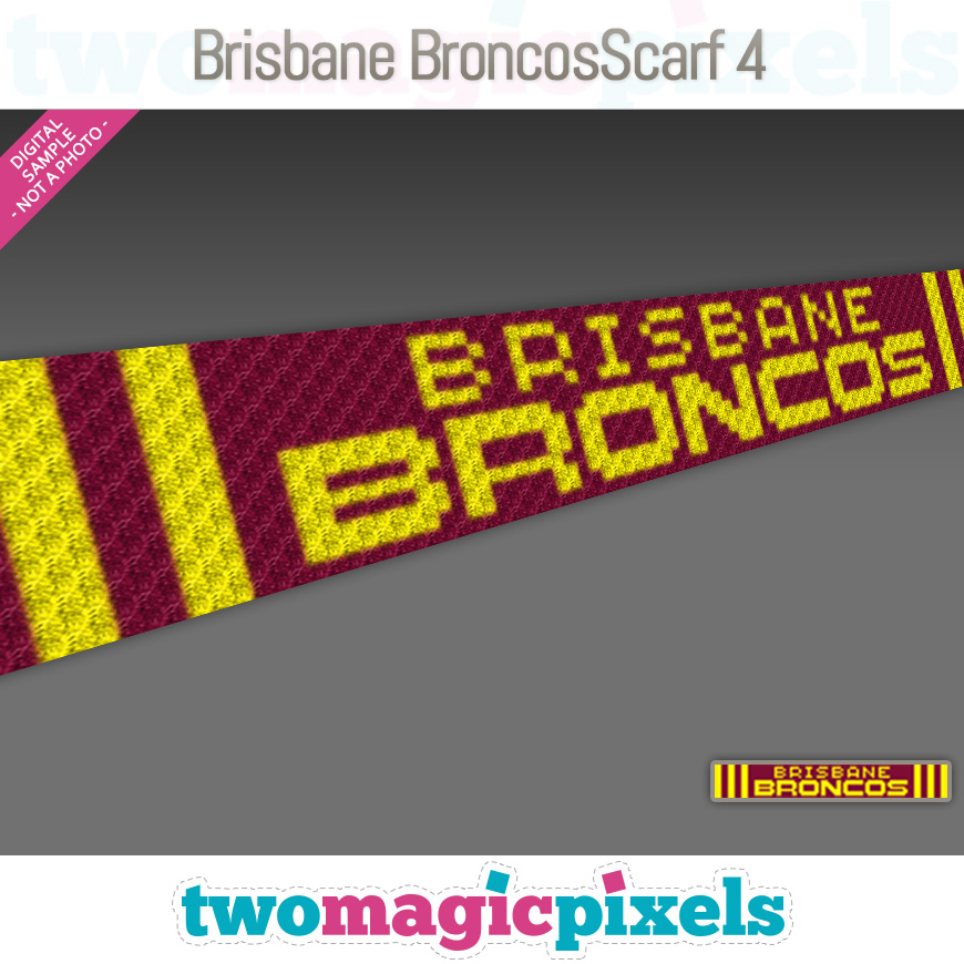 Brisbane Broncos Scarf 4 by Two Magic Pixels