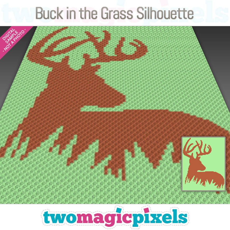 Buck in the Grass Silhouette by Two Magic Pixels