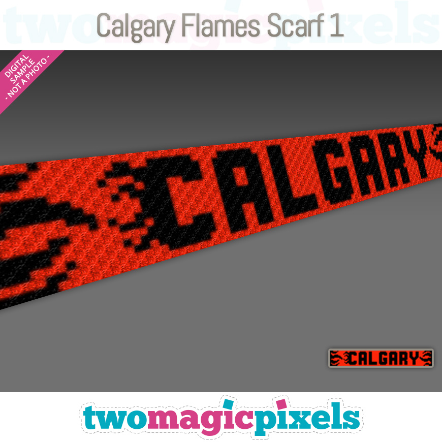 Calgary Flames Scarf 1 by Two Magic Pixels