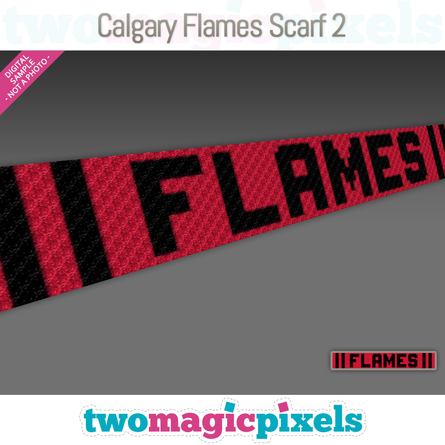 Calgary Flames Scarf 2 by Two Magic Pixels