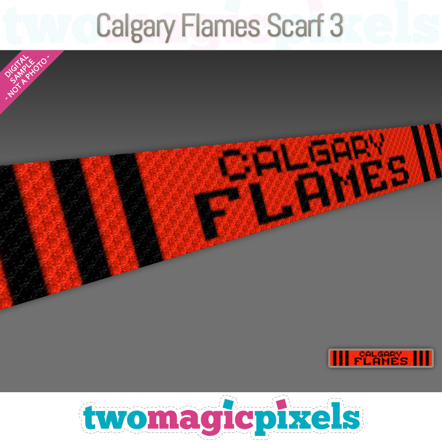 Calgary Flames Scarf 3 by Two Magic Pixels