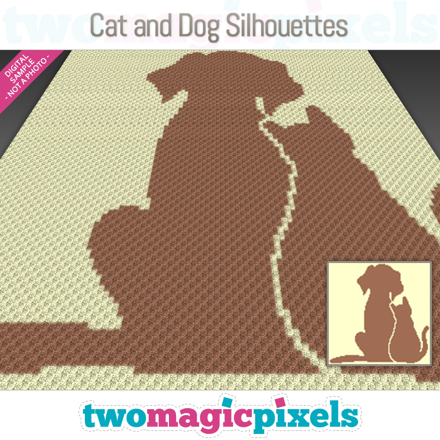 Cat and Dog Silhouettes by Two Magic Pixels