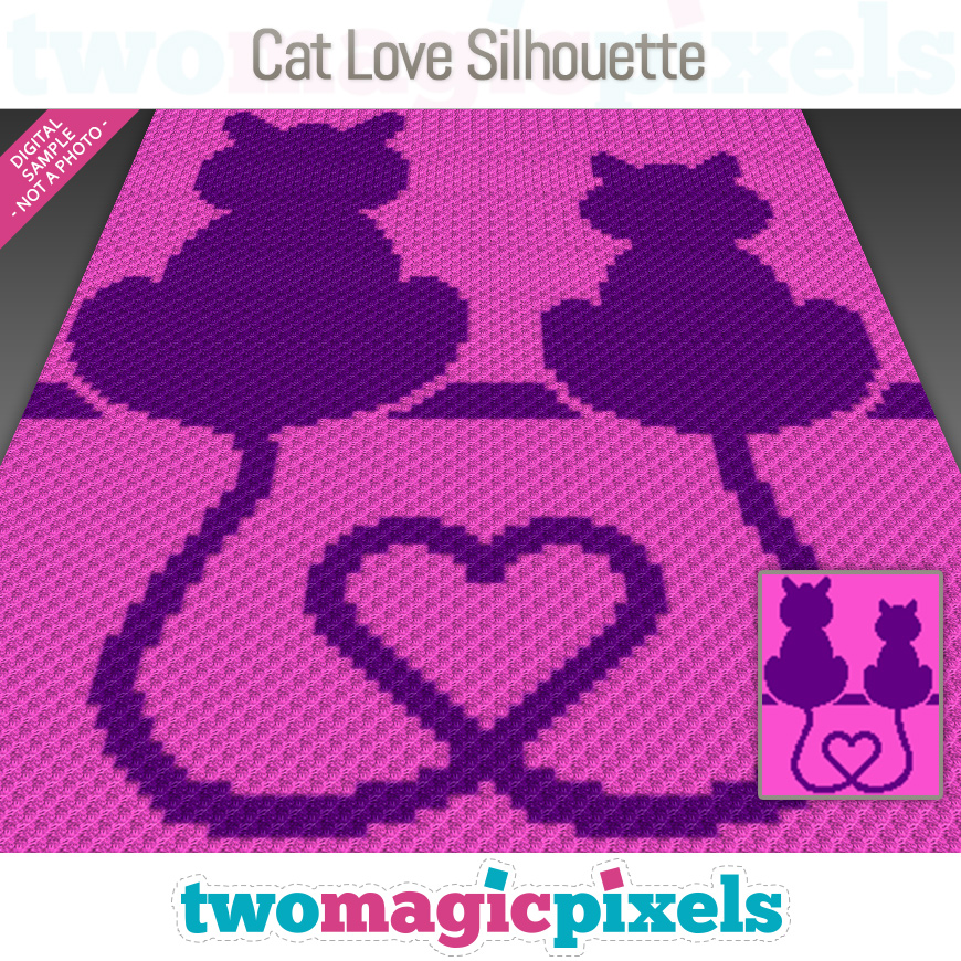 Cat Love Silhouette by Two Magic Pixels