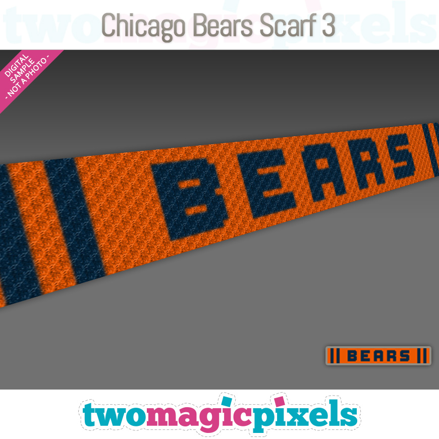 Chicago Bears Scarf 3 by Two Magic Pixels