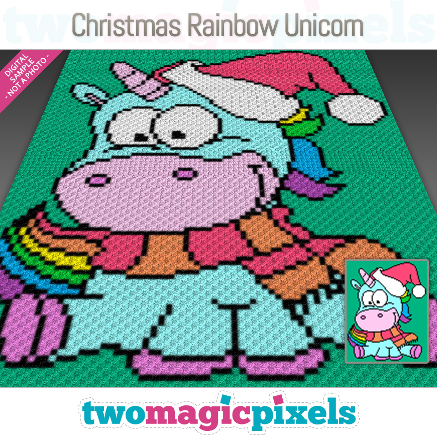 Christmas Rainbow Unicorn by Two Magic Pixels