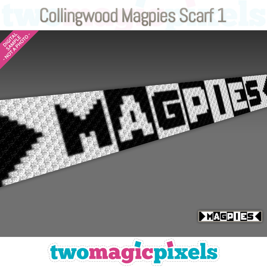Collingwood Magpies Scarf 2 by Two Magic Pixels