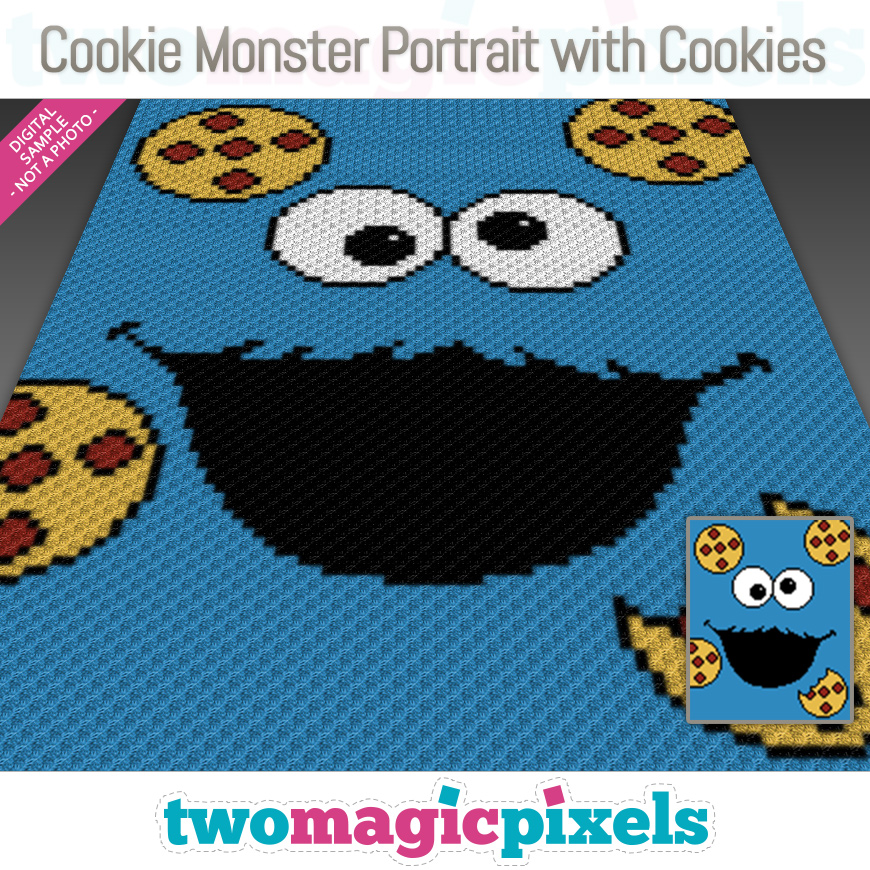 Cookie Monster Portrait with Cookies by Two Magic Pixels