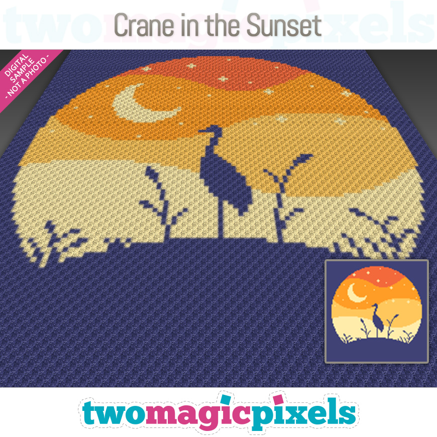 Crane in the Sunset by Two Magic Pixels
