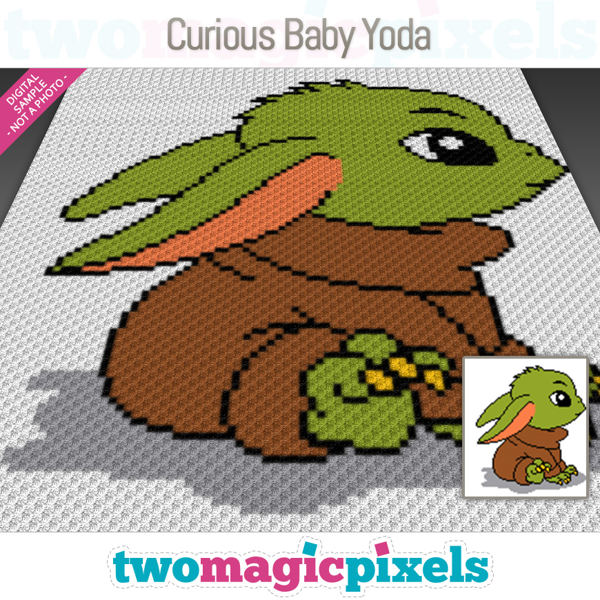 Curious Baby Yoda by Two Magic Pixels