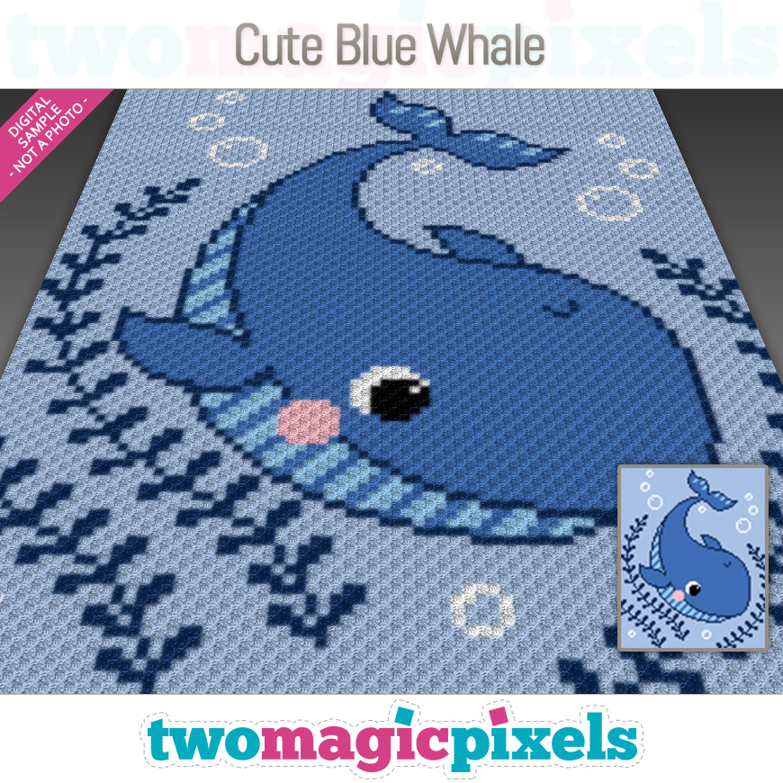 Cute Blue Whale by Two Magic Pixels