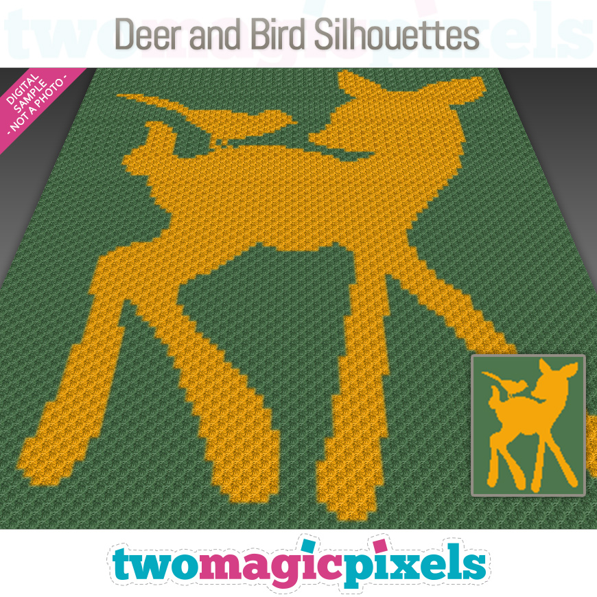 Deer and Bird Silhouettes by Two Magic Pixels