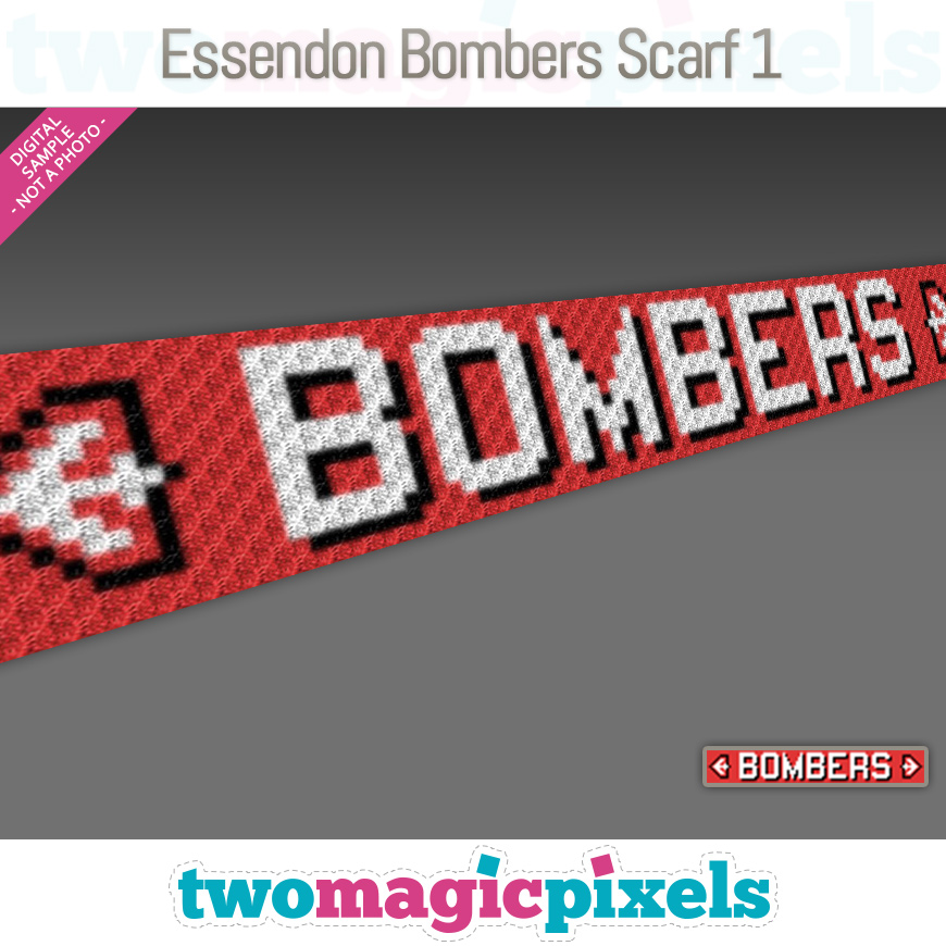 Essendon Bombers Scarf 1 by Two Magic Pixels