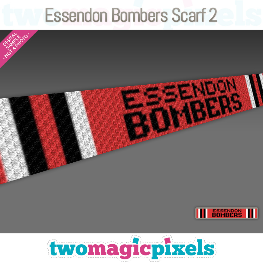 Essendon Bombers Scarf 2 by Two Magic Pixels