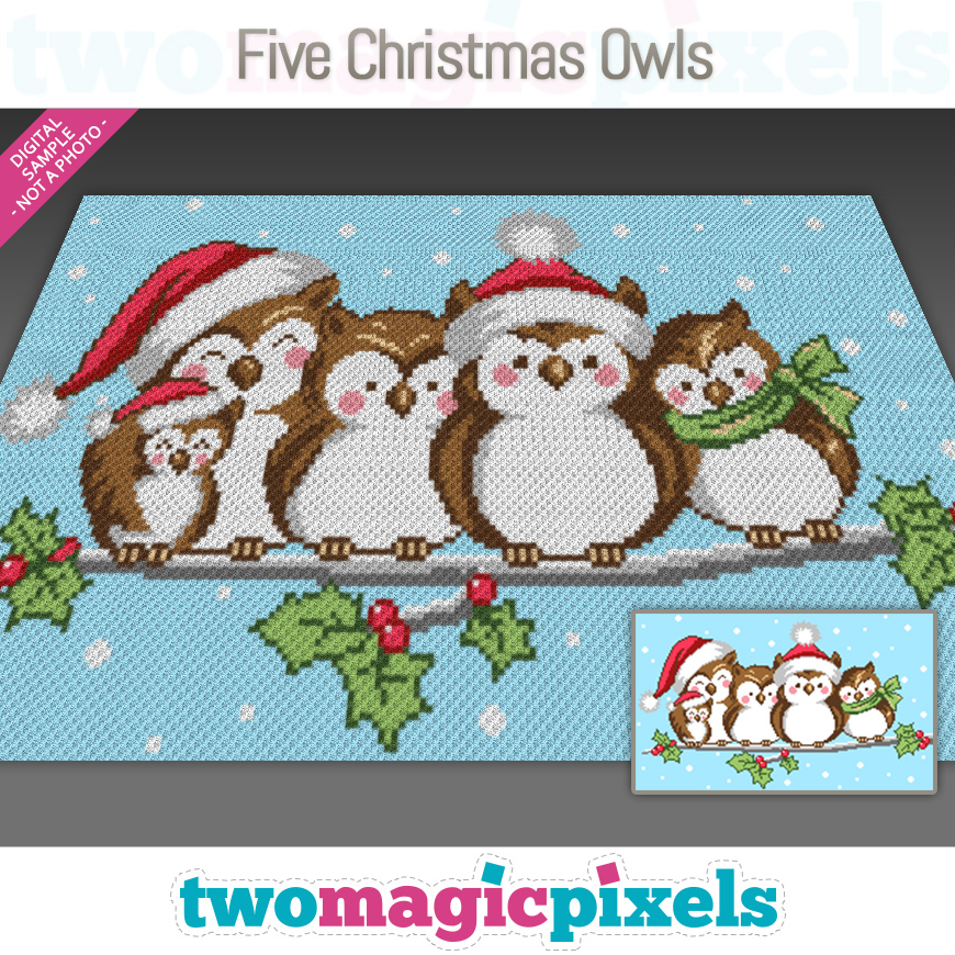 Five Christmas Owls by Two Magic Pixels