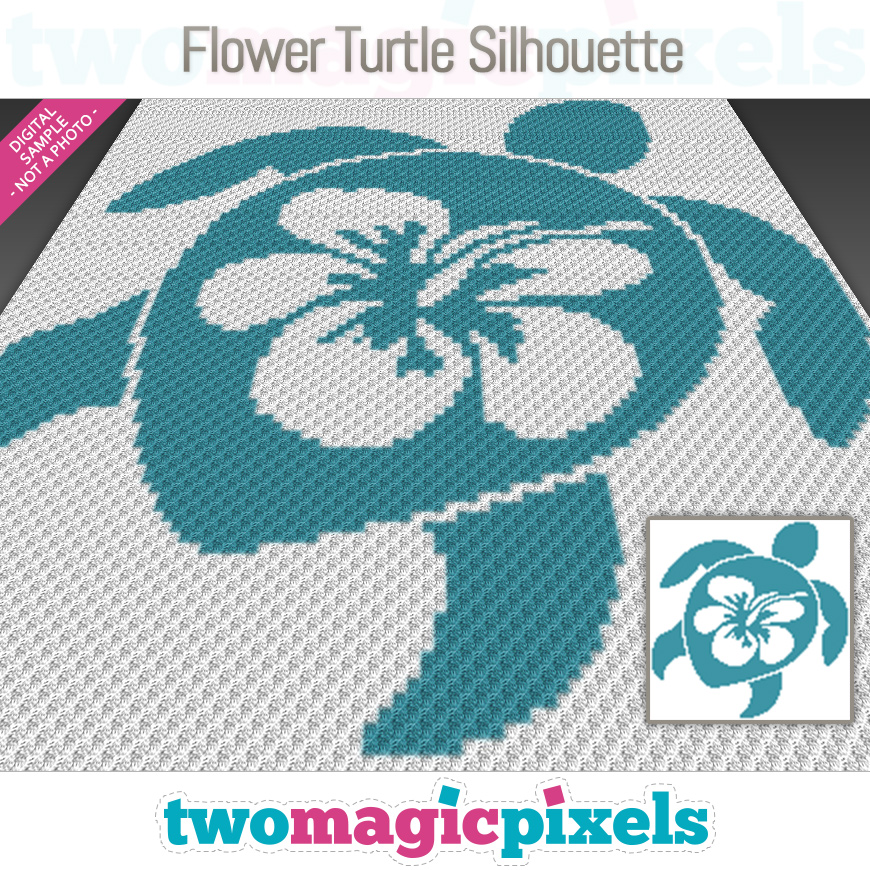 Flower Turtle Silhouette by Two Magic Pixels