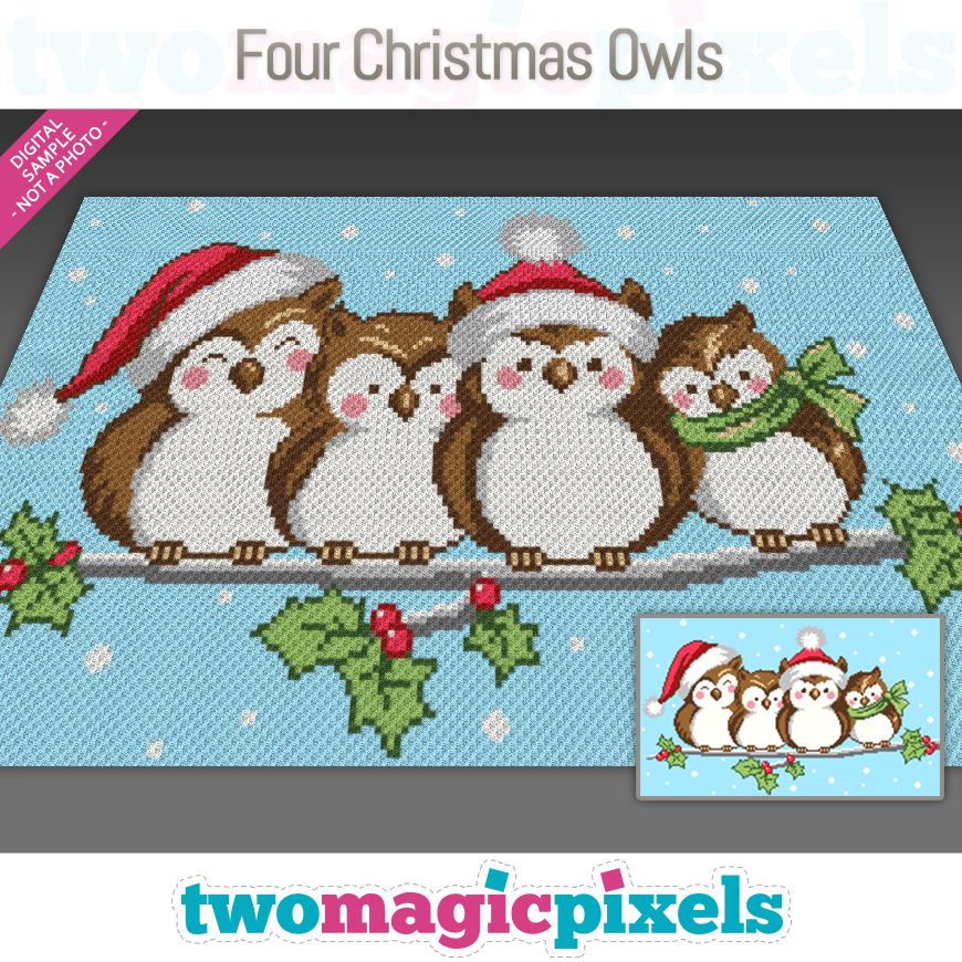 Four Christmas Owls by Two Magic Pixels