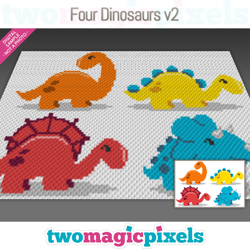 Four Dinosaurs v2 by Two Magic Pixels