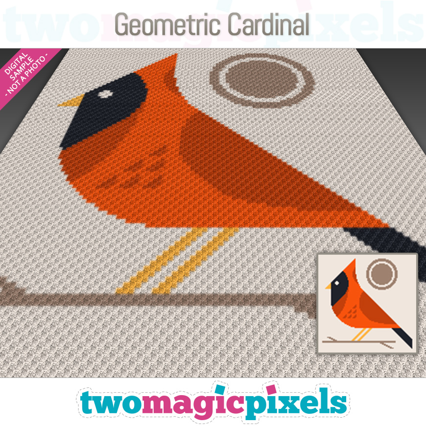 Geometric Cardinal by Two Magic Pixels