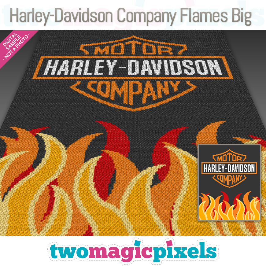 Harley-Davidson Company Flames Big by Two Magic Pixels