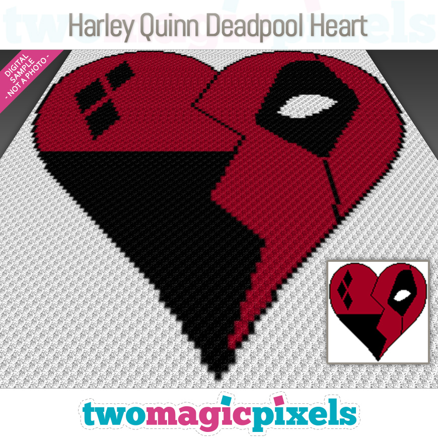 Harley Quinn Deadpool Heart by Two Magic Pixels