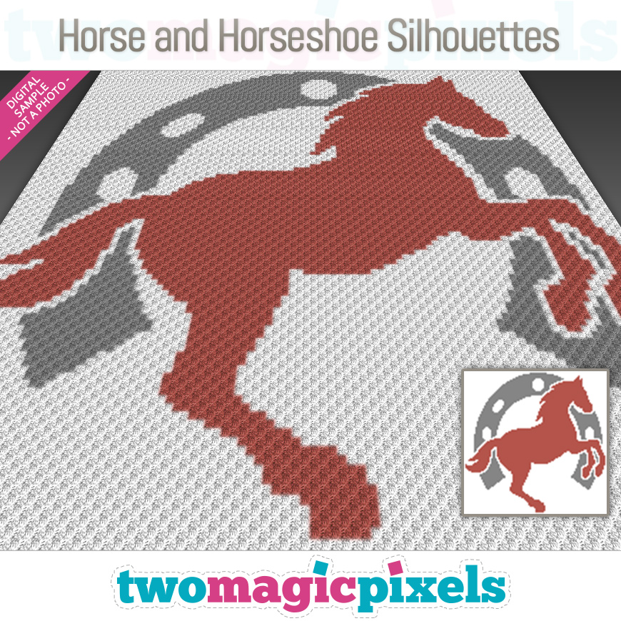 Horse and Horseshoe Silhouettes by Two Magic Pixels