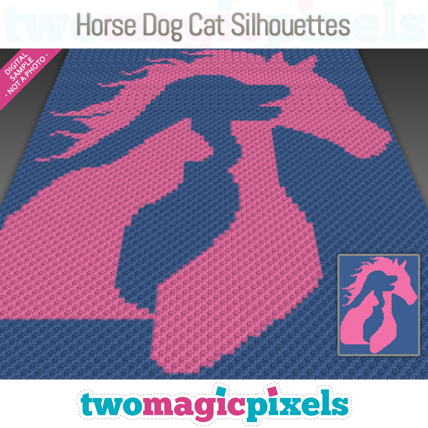 Horse Dog Cat Silhouettes by Two Magic Pixels
