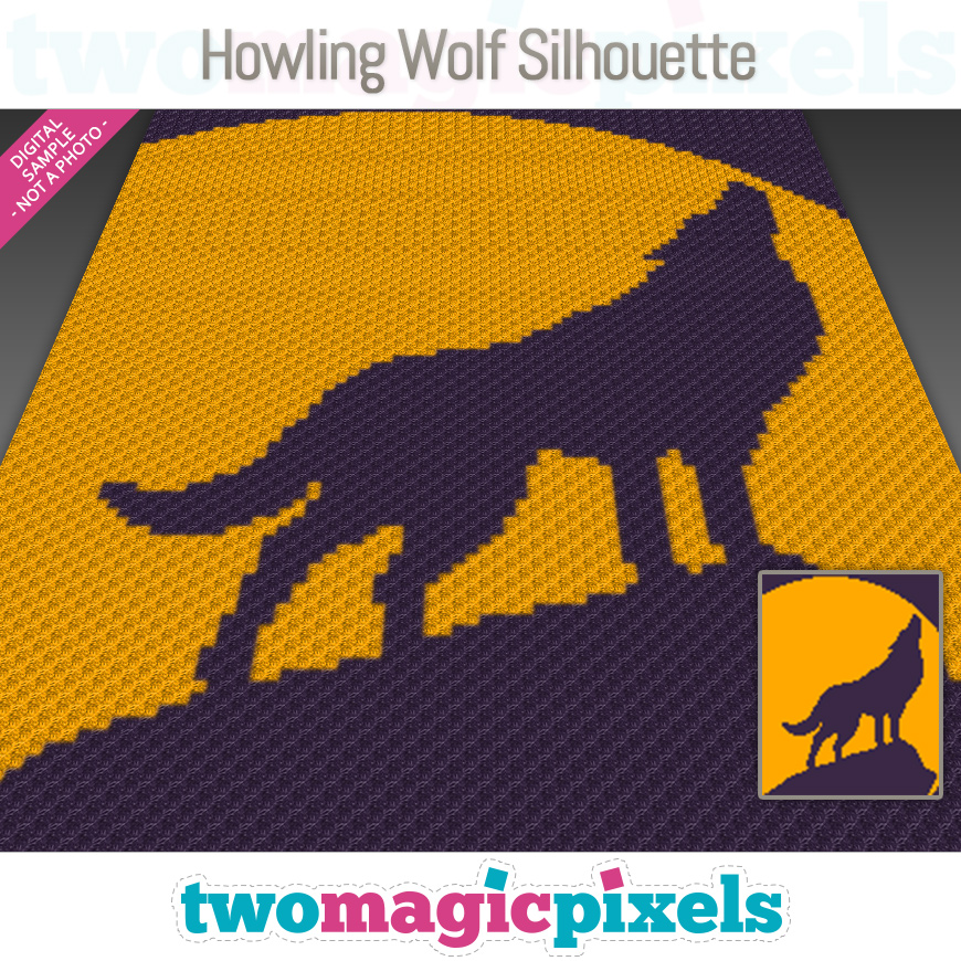 Howling Wolf Silhouette by Two Magic Pixels