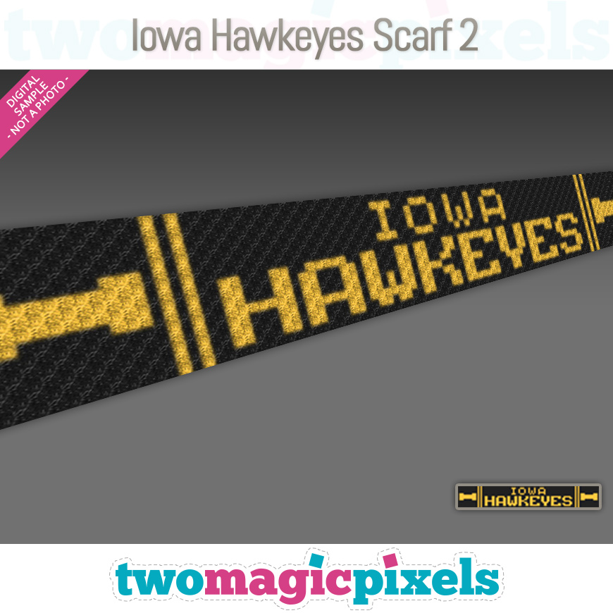 Iowa Hawkeyes Scarf 2 by Two Magic Pixels
