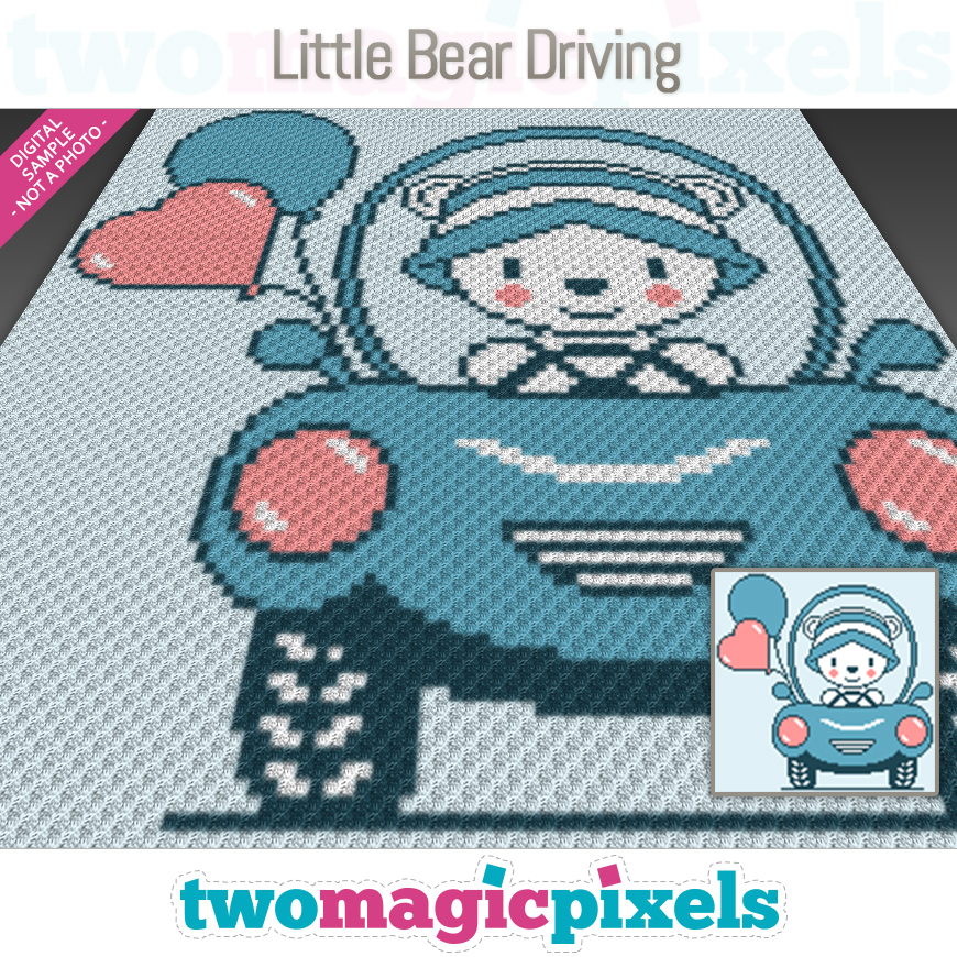 Little Bear Driving by Two Magic Pixels