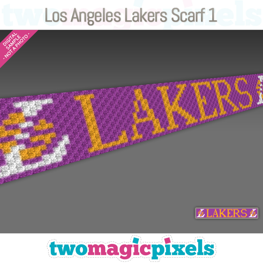 Los Angeles Lakers Scarf 1 by Two Magic Pixels