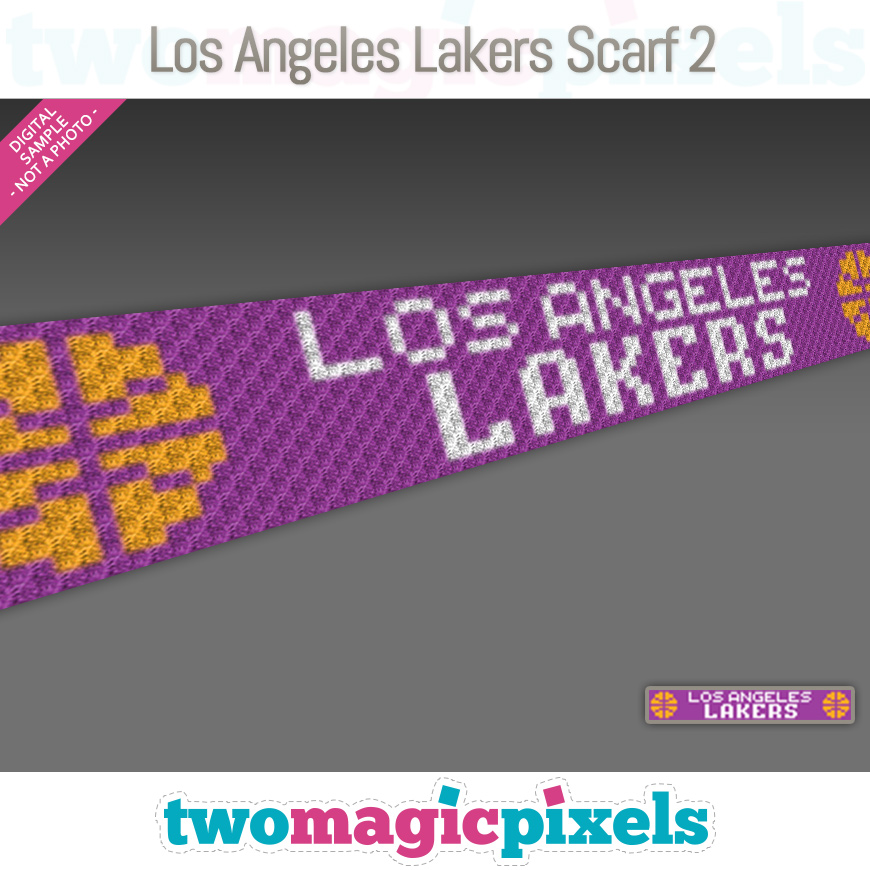 Los Angeles Lakers Scarf 2 by Two Magic Pixels