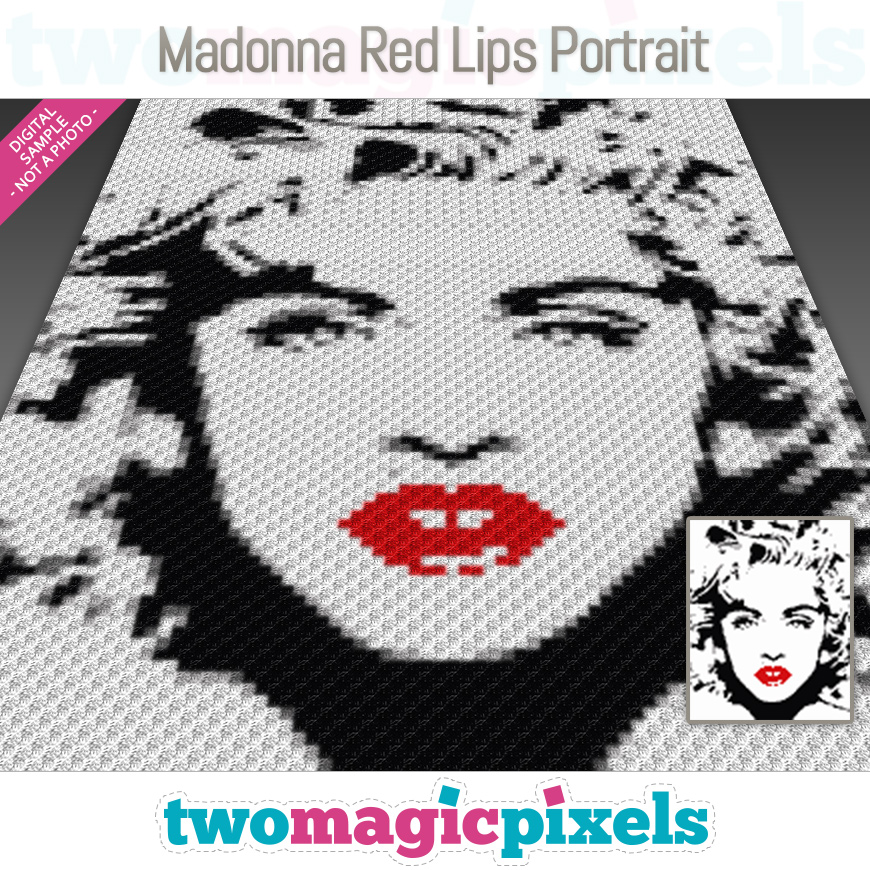 Madonna Red Lips Portrait by Two Magic Pixels