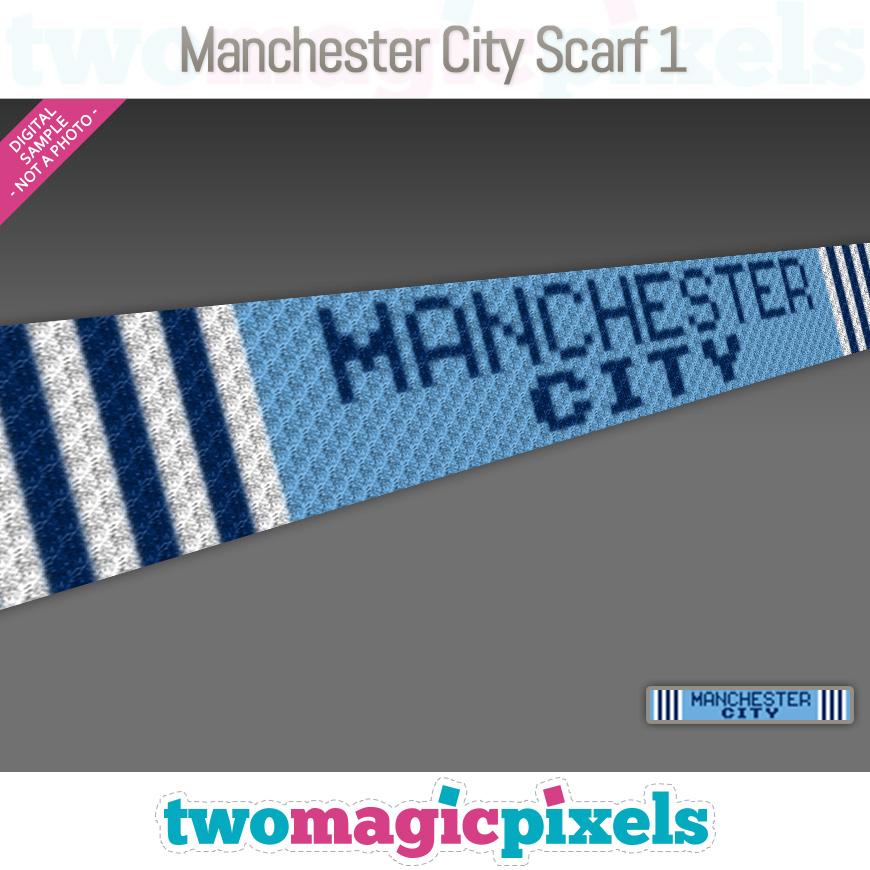 Manchester City Scarf 1 by Two Magic Pixels