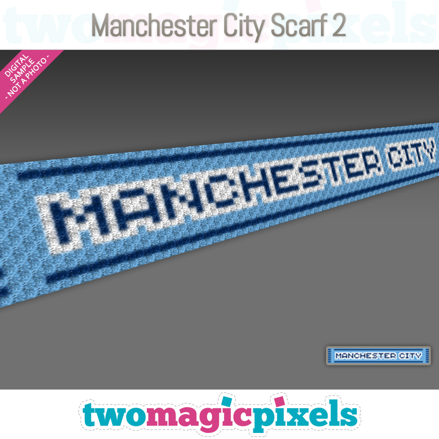 Manchester City Scarf 2 by Two Magic Pixels