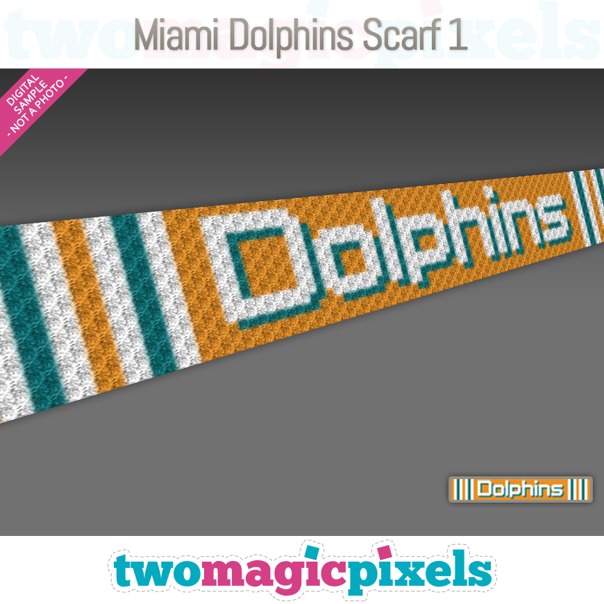 Miami Dolphins Scarf 1 by Two Magic Pixels