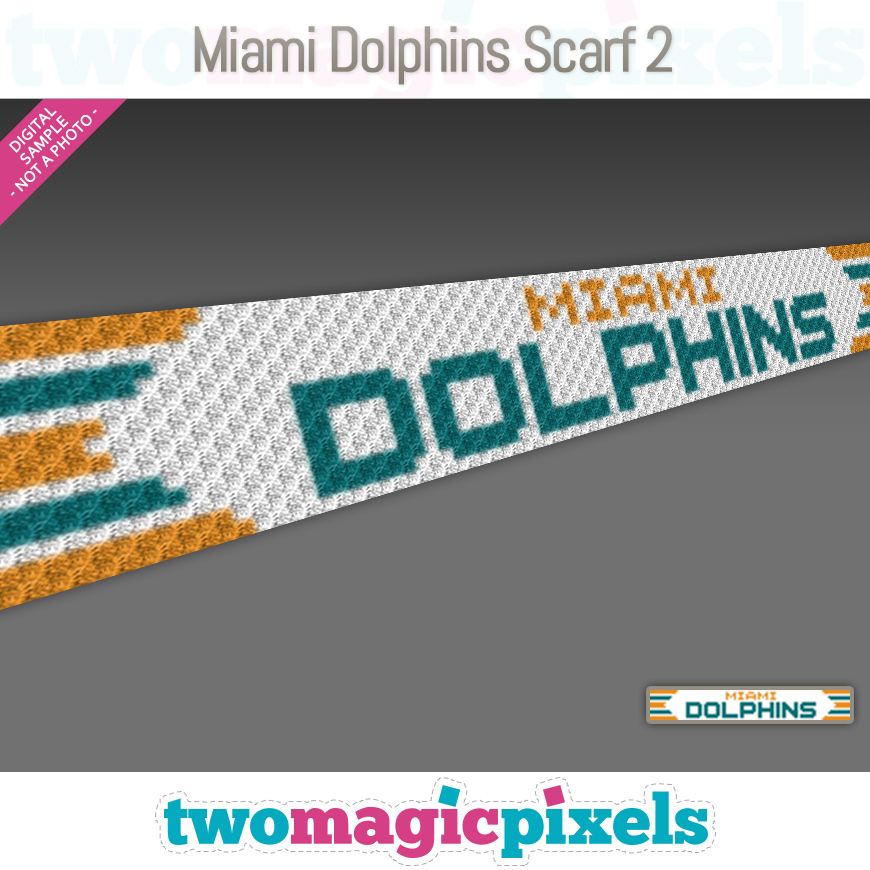 Miami Dolphins Scarf 2 by Two Magic Pixels
