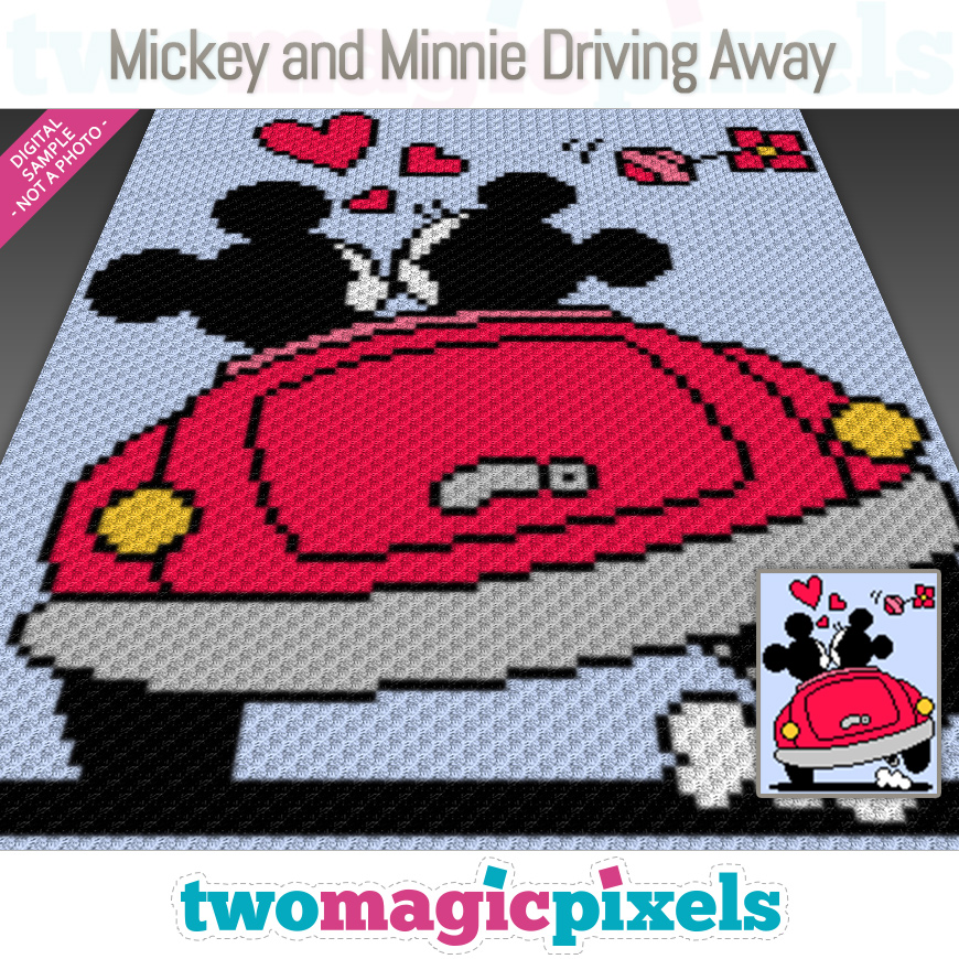 Mickey and Minnie Driving Away by Two Magic Pixels