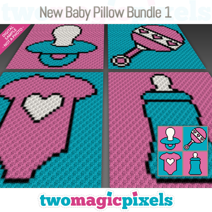 New Baby Pillow Bundle 1 by Two Magic Pixels
