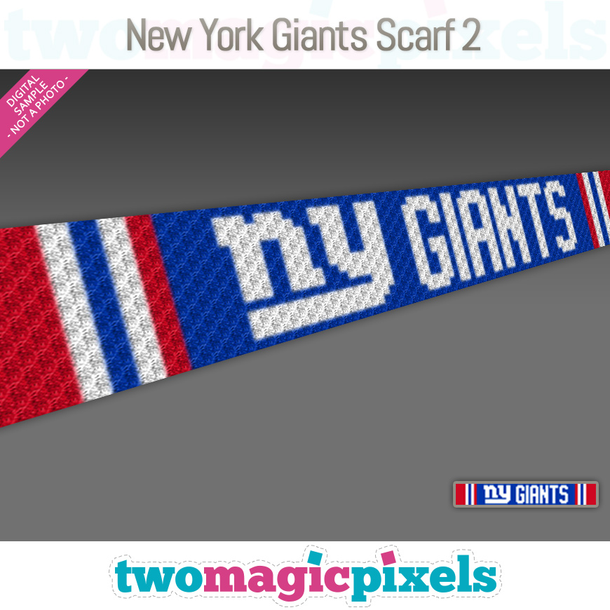 New York Giants Scarf 2 by Two Magic Pixels