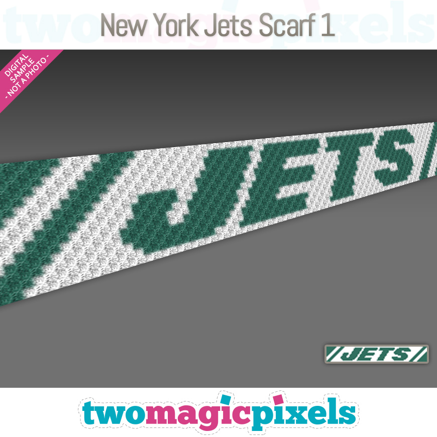 New York Jets Scarf 1 by Two Magic Pixels