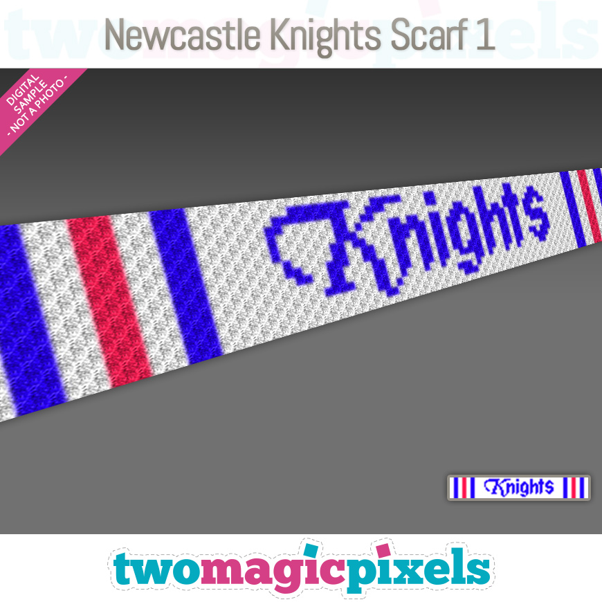 Newcastle Knights Scarf 1 by Two Magic Pixels