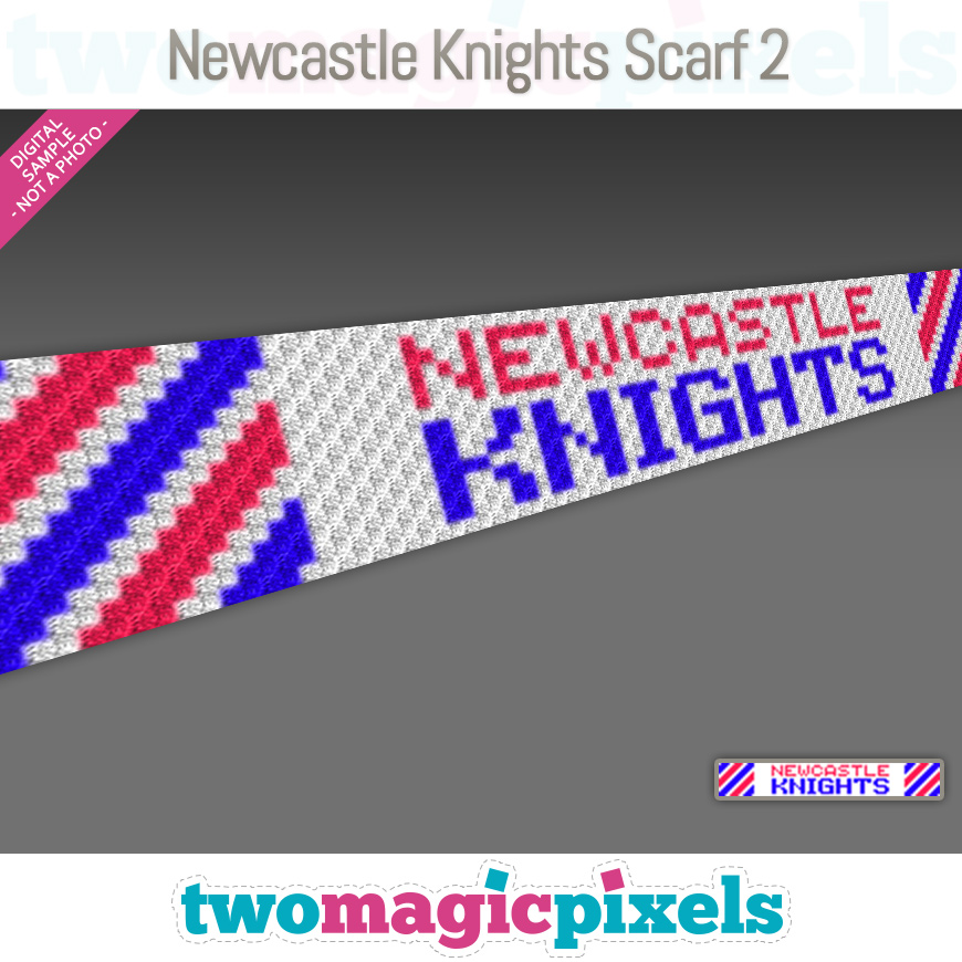 Newcastle Knights Scarf 2 by Two Magic Pixels