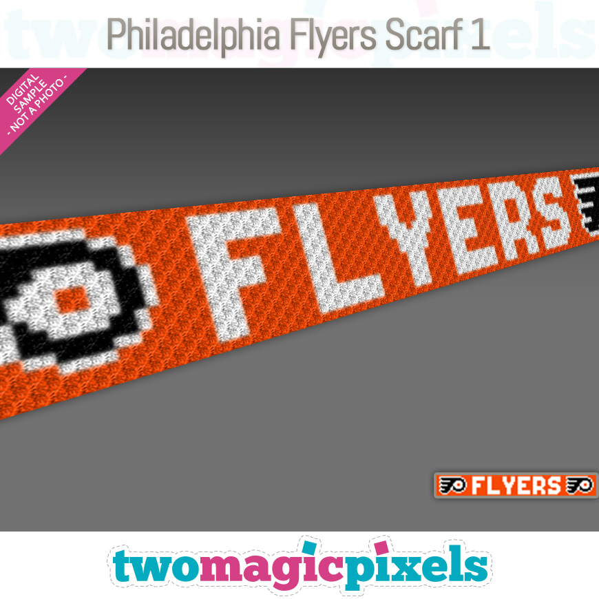 Philadelphia Flyers Scarf 1 by Two Magic Pixels