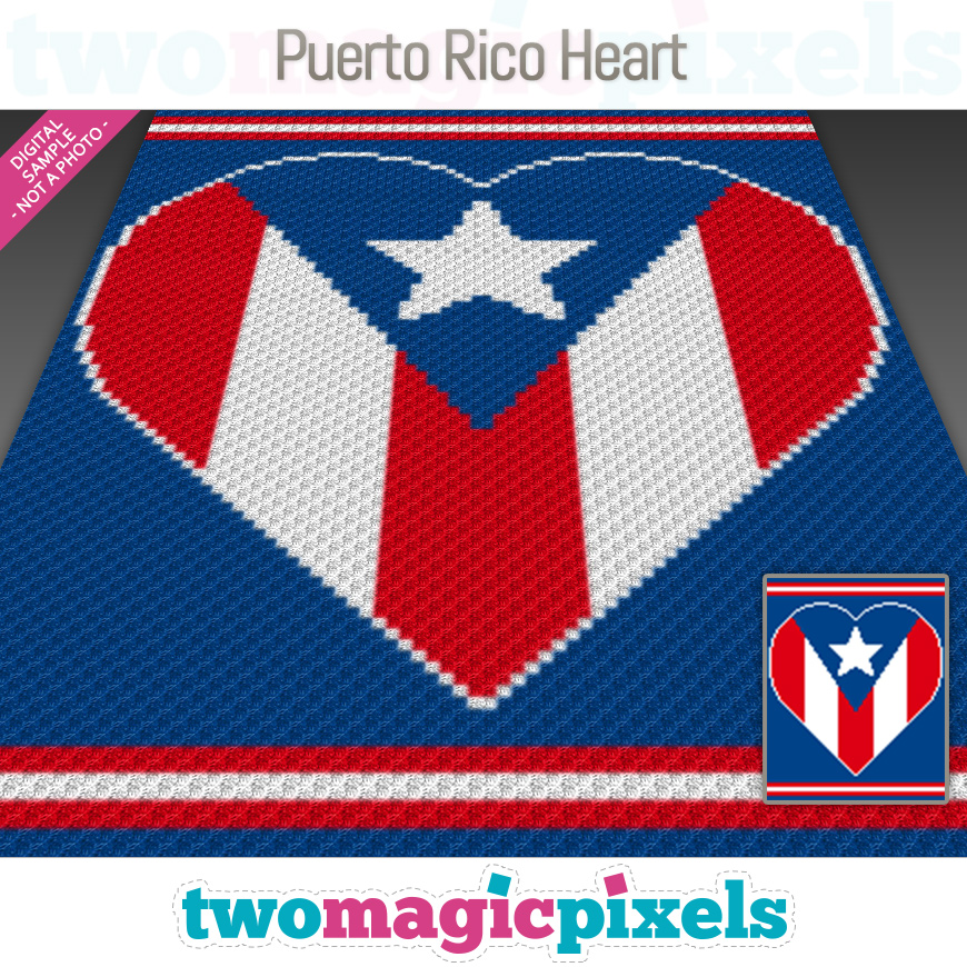 Puerto Rico Heart by Two Magic Pixels
