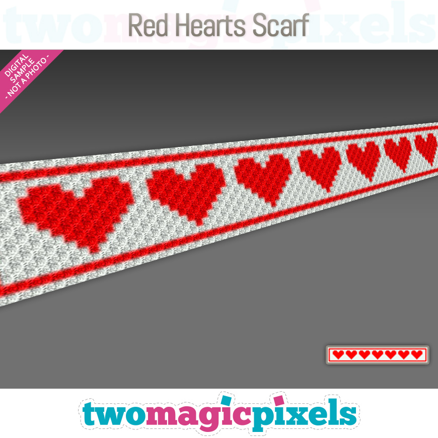 Red Hearts Scarf by Two Magic Pixels